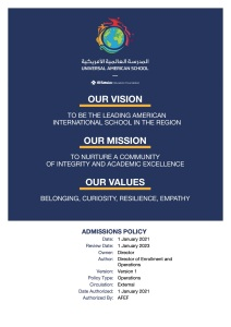 Click here to read our Admissions Policy